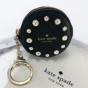 KATE SPADE Leather and Pearl Coin Purse Keychain!